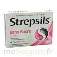 STREPSILS FRAISE SANS SUCRE, pastille édulcorée à l'isomalt, au maltitol et à la saccharine sodique à Mérignac